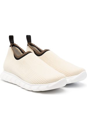 Fendi TEEN low-top knitted sneakers - Neutrals
