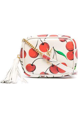 Saint Laurent Women Shoulder Bags - Cherry-print logo-plaque crossbody bag - Neutrals
