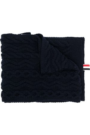Thom Browne Men Scarves - 4-Bar Aran cable merino wool scarf