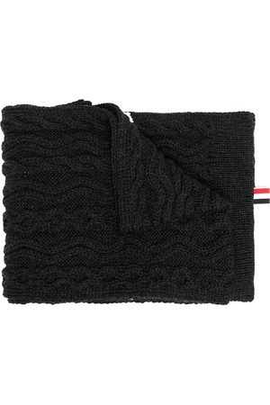 Thom Browne Men Scarves - 4-Bar Aran cable merino wool scarf - Grey