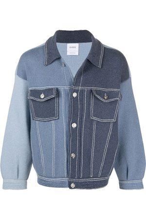 Barrie Colour-block knit denim jacket