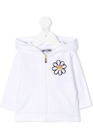 Moschino Embroidered zip-up hooded jacket