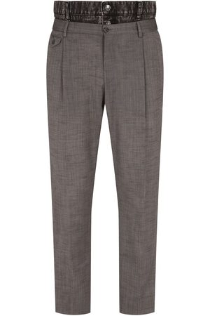Dolce & Gabbana Denim trim wool trousers - Grey