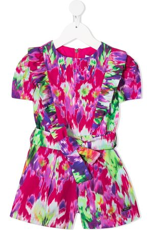 Msgm Abstract print belted playsuit