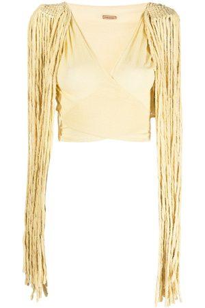 Caravana Tassel-detail wraparound cotton top