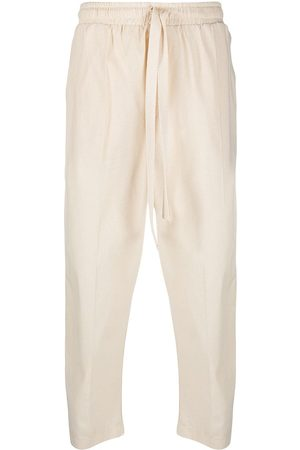 Alchemy Drawstring cotton drop-crotch trousers - Neutrals