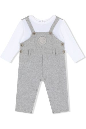 Dolce & Gabbana Dungarees-style logo-patch romper - Grey