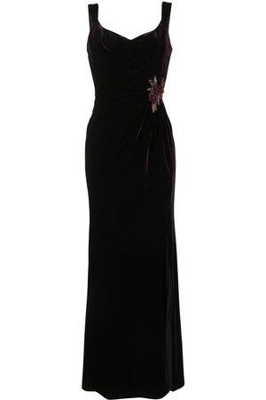 Marchesa Notte Sleeveless V-neck draped gown