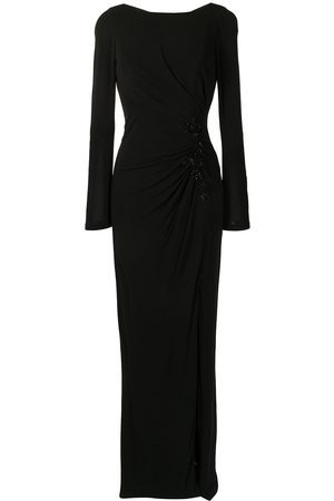 Marchesa Notte Side ruched detail gown