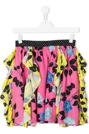 Msgm Girls Printed Skirts - Floral-print ruffled mini skirt