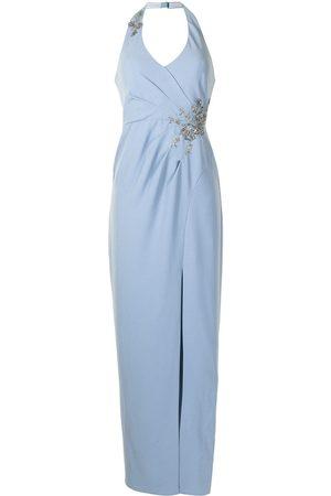 Marchesa Notte Embellished halter V-neck gown
