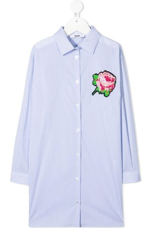 Msgm Floral-patch striped shirt dress