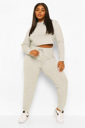Boohoo Womens Plus Cropped Hoody Tracksuit - - 12