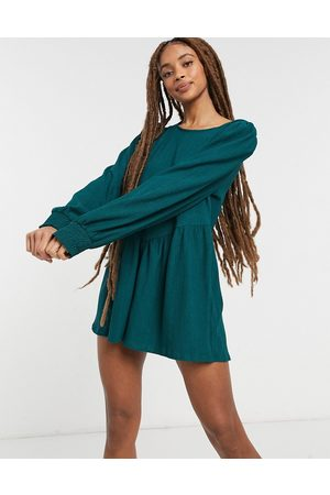 ASOS Button back puff sleeve romper in forest