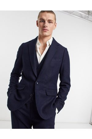 Gianni Feraud Slim fit textured wool suit jacket-Navy