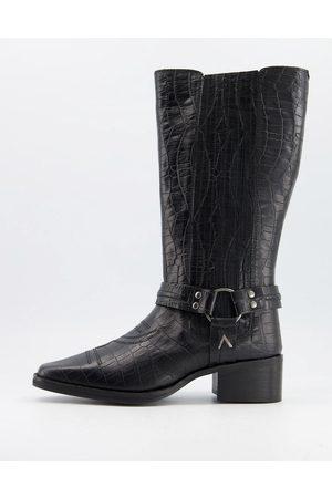 ASRA Khloe western knee boots in croc embossed leather