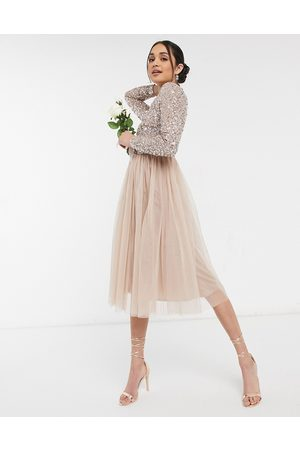 Maya Bridesmaid long sleeve midi tulle dress with tonal delicate sequin in taupe blush