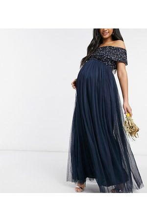 Maya Bridesmaid off shoulder maxi tulle dress with tonal delicate sequins in navy