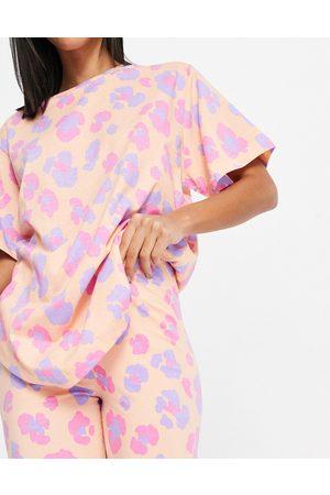 ASOS Leopard oversized tee & legging pajama set in peach-Multi