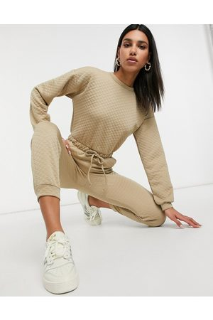 ASOS Quilted basic sweatpants jumpsuit in stone