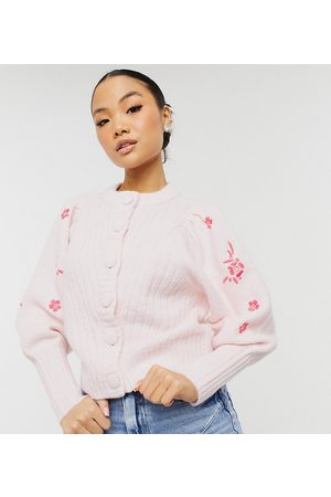 Y.A.S Exclusive cardigan with embroidered sleeves in