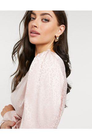 River Island Jacquard satin peplum blouse in