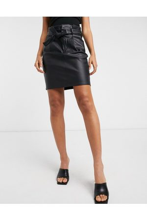 Vero Moda Leather look mini skirt with paperbag waist in