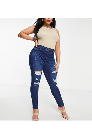 Yours Distressed skinny jeans in dark blue-Blues