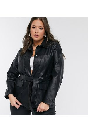 Threadbare Curve Threadbare Plus lemonade belted faux leather coat