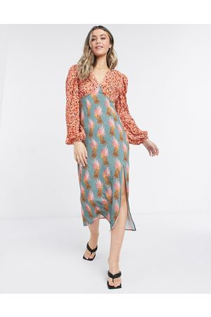 Never Fully Dressed Plus contrast midi dress with leg slit in polka dot and sassy leopard-Multi
