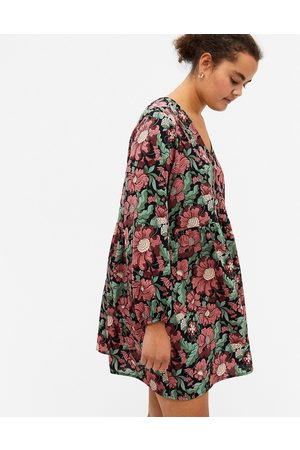 Monki Torborg floral print long sleeve mini dress in multi