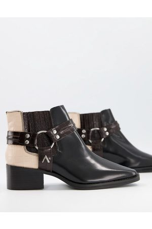 ASRA Mariana boots with harness detail in leather