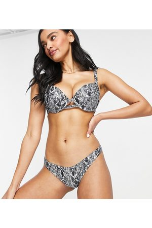 Wolf & Whistle Exclusive high leg bikini bottom in snake print-Multi