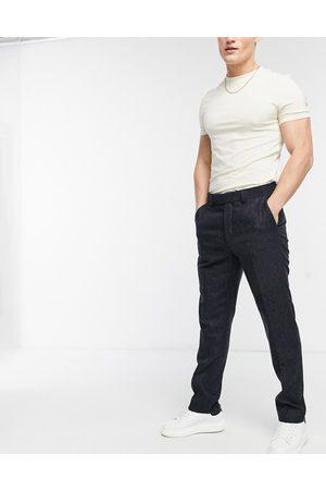 ASOS 100% lambswool slim suit pants in blue check-Blues