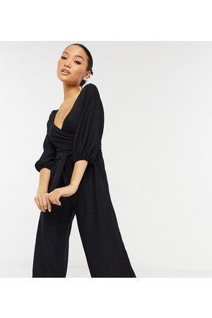 ASOS ASOS DESIGN Petite wrap front textured smock jumpsuit in