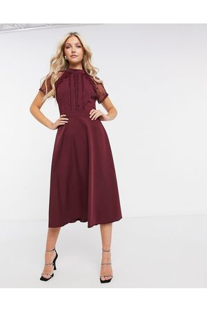 Liquorish A-line lace detail midi dress in burgundy