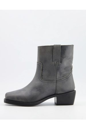 ASRA Maxine square toe pull on boots in leather-Grey