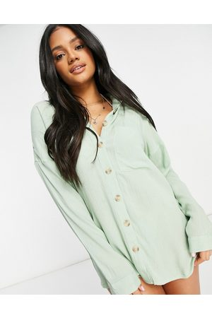 Influence Cheesecloth beach shirt dress in sage
