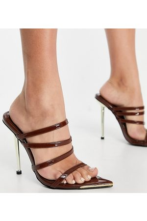 Simmi Wide Fit Simmi London Wide Fit Felicia strappy mules with gold heel in chocolate patent