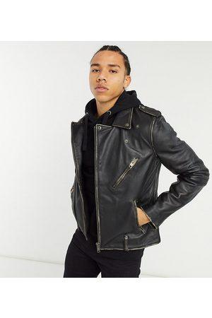 Bolongaro TALL biker leather jacket in antique finish