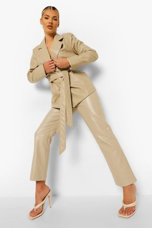 Boohoo Womens Leather Look Straight Leg Pants - - 2