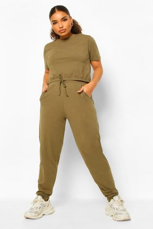 Boohoo Womens Plus Crew Neck T-Shirt And Jogger Set - - 12