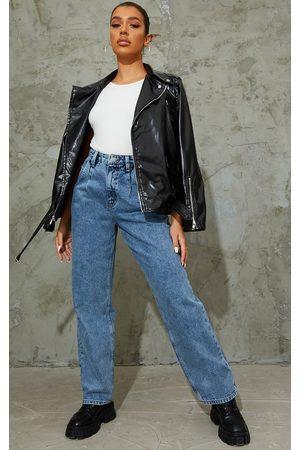 PRETTYLITTLETHING Vintage Wash Seam Detail Wide Leg Jean