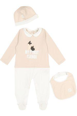 Fendi Baby stretch-cotton onesie, hat and bib set