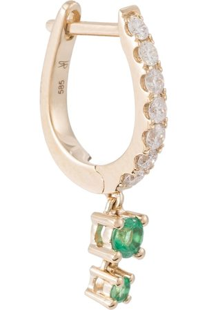 JACQUIE AICHE 14kt single hoop earring with diamonds and emeralds