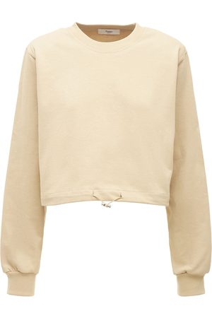 The Frankie Shop Cotton Jersey Sweatshirt W/shoulder Pads