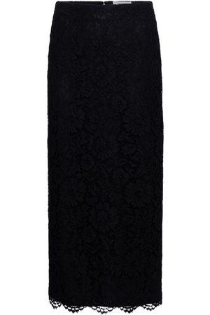 VALENTINO Floral-lace midi skirt
