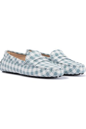 Tod's Gommino checked suede loafers