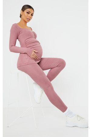 PRETTYLITTLETHING Women Leggings - Maternity Dusty Rose Ruched Brushed Leggings
