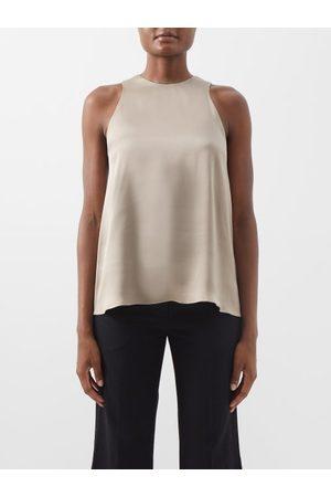 Raey Women Tops - Cut-away Shoulder Silk-satin Top - Womens - Grey